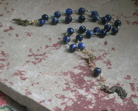 Hera Prayer Bead Necklace in Sodalite: Greek Goddess of the Sky, Marriage, Queen of Olympus - Hearthfire Handworks