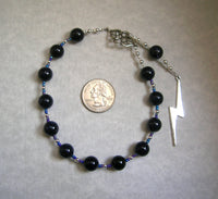 Zeus Pocket Prayer Beads in Blue Goldstone: Greek God of the Sky, Storm, Lightning, Justice - Hearthfire Handworks