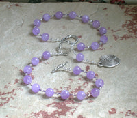 Ariadne Prayer Bead Necklace in Milky Amethyst: Greek Goddess, Mistress of the Labyrinth - Hearthfire Handworks