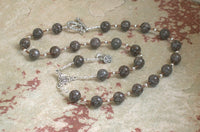 Demeter Prayer Bead Necklace in Brown Snowflake Obsidian: Greek Goddess of Grain, the Harvest - Hearthfire Handworks