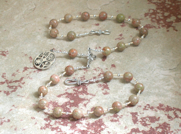 Demeter Prayer Bead Necklace in Unakite: Greek Goddess of Grain, the Harvest, the Seasons - Hearthfire Handworks