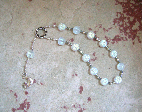 Selene Pocket Prayer Beads in White Pressed Glass: Greek Goddess of the Moon - Hearthfire Handworks