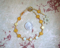 Helios Pocket Prayer Beads in Yellow Pressed Glass: Greek God of the Sun, Witness of Oaths - Hearthfire Handworks