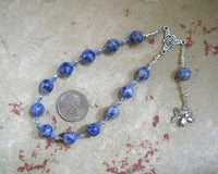 Hera Pocket Prayer Beads in Blue Agate: Greek Goddess of the Heavens, Marriage, Queen of Olympus - Hearthfire Handworks