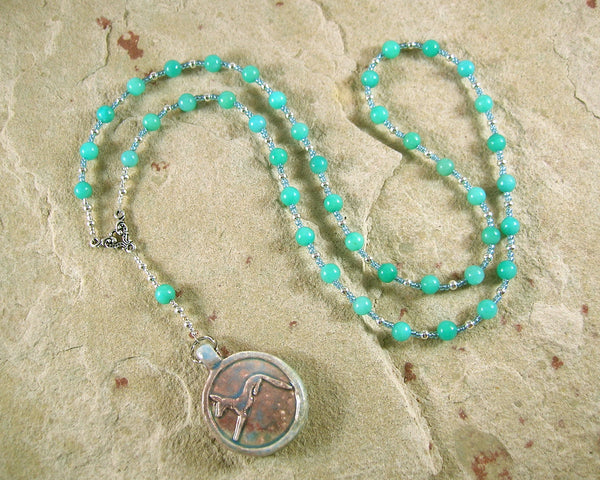 Anubis Prayer Bead Necklace in Amazonite: Egyptian God of the Underworld, Guardian of the Dead - Hearthfire Handworks
