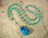 Bes Prayer Bead Necklace in Stabilized Turquoise: Egyptian God of House and Home, Protector of the Family - Hearthfire Handworks