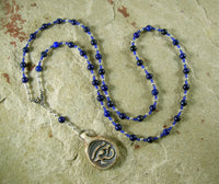Horus the Younger (Heru-sa-Aset) Prayer Bead Necklace in Lapis: Egyptian God of Sovereignty - Hearthfire Handworks