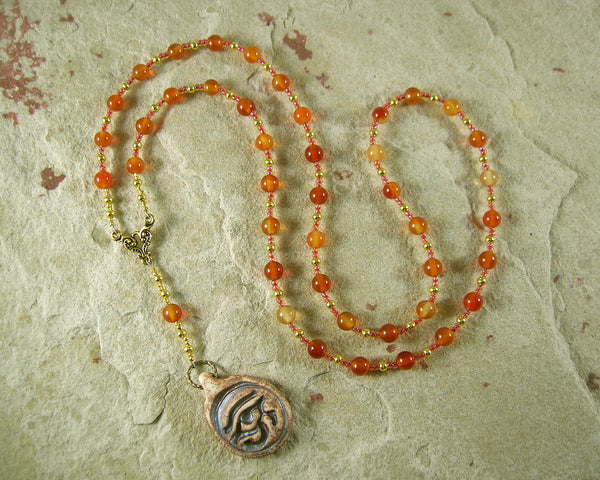 Horus the Elder (Heru-wer) Prayer Bead Necklace in Carnelian: Egyptian God of Battle, Protection - Hearthfire Handworks