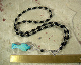 Osiris (Wesir) Prayer Bead Necklace in Onyx with Djed: Egyptian God of Death and the Afterlife - Hearthfire Handworks