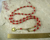 Ra (Re) Prayer Bead Necklace in Red Carnelian: Egyptian God of the Sun - Hearthfire Handworks