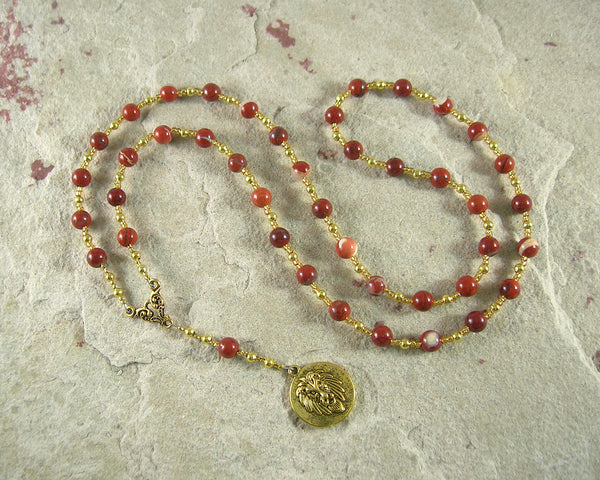 Sekhmet Prayer Bead Necklace in Red Jasper: Egyptian Goddess of Healing, War, Justice and Vengeance