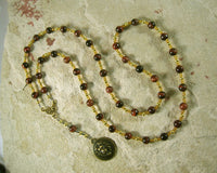 Sekhmet Prayer Bead Necklace in Red Tiger Eye: Egyptian Goddess of Healing, War, Justice and Vengeance - Hearthfire Handworks