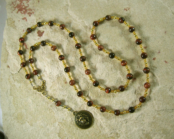 Sekhmet Prayer Bead Necklace in Red Tiger Eye: Egyptian Goddess of Healing, War, Justice and Vengeance