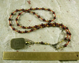 Set Prayer Bead Necklace in Garnet: Egyptian God of Change, Chaos, Battle - Hearthfire Handworks