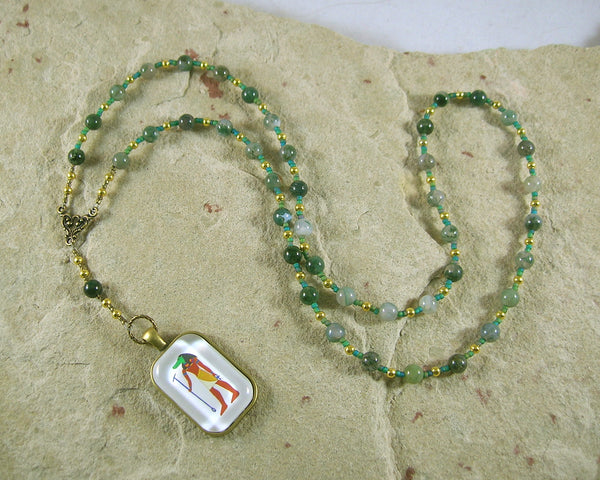 Sobek Prayer Bead Necklace in Moss Agate: Egyptian God of Fertility, Protection - Hearthfire Handworks