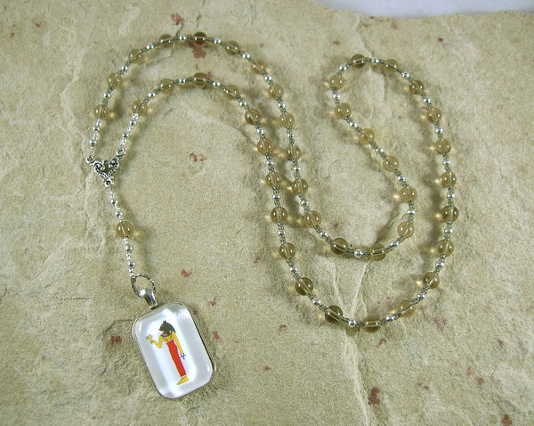 Bast Prayer Bead Necklace in Smoky Quartz: Egyptian Goddess of Joy, Love, Music - Hearthfire Handworks