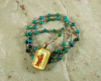Bes Prayer Bead Necklace in Chrysocolla: Egyptian God of House and Home, Protector of the Family - Hearthfire Handworks