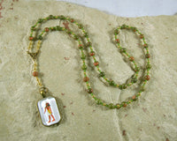 Geb Prayer Bead Necklace in Unakite: Egyptian God of the Earth - Hearthfire Handworks