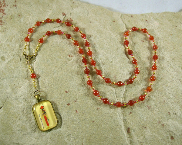 Hathor Prayer Bead Necklace in Carnelian: Egyptian Goddess of Love, Joy and Beauty - Hearthfire Handworks