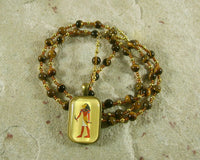 Maahes Prayer Bead Necklace in Tiger Eye: Egyptian War God, Protector, Avenger of Wrongs - Hearthfire Handworks