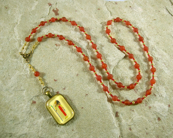 Mafdet Prayer Bead Necklace in Carnelian: Egyptian Goddess of Law and Justice, Protector against Poison - Hearthfire Handworks
