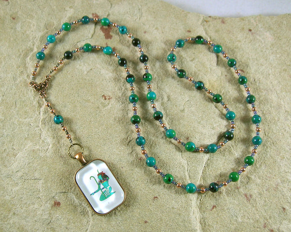 Nun (Nu) Prayer Bead Necklace in Chrysocolla: Egyptian God of the Primordial Abyss - Hearthfire Handworks