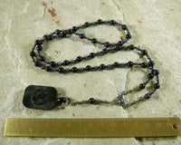 Nuit Prayer Bead Necklace in Blue Goldstone: Egyptian Goddess of the Sky and Stars - Hearthfire Handworks
