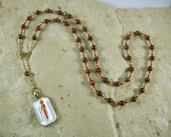 Sekhmet Prayer Bead Necklace in Red Tiger Eye: Egyptian Goddess of Healing, War, Justice, Vengeance