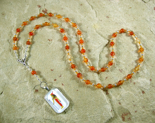 Serqet (Serket) Prayer Bead Necklace in Carnelian: Egyptian Goddess of Healing, Magic, Scorpions and Venomous Beasts - Hearthfire Handworks