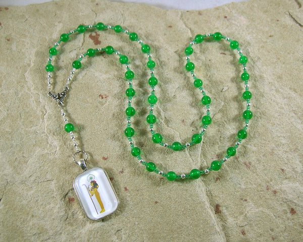 Seshet (Seshat) Prayer Bead Necklace in Green Agate: Egyptian Goddess of Writing, Wisdom and Knowledge