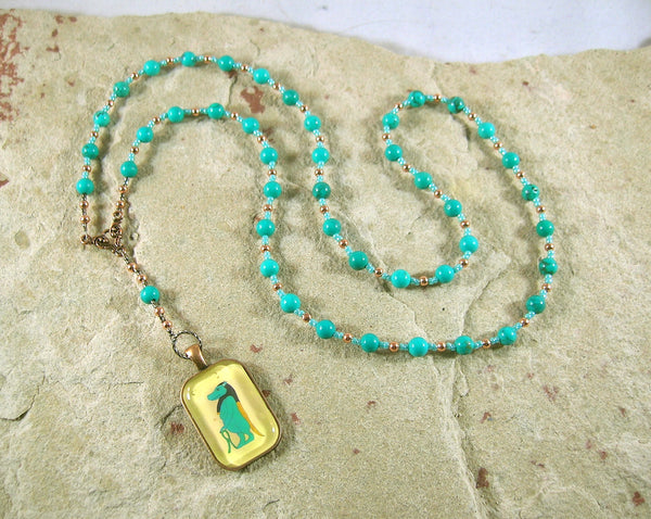 Taweret Prayer Bead Necklace in Stabilized Turquoise: Egyptian Goddess of Fertility, Motherhood, Childbirth - Hearthfire Handworks