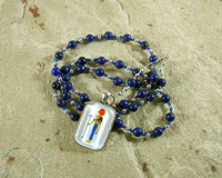 Tefnut Prayer Bead Necklace in Lapis Lazuli: Egyptian Goddess of the Waters and the Rains - Hearthfire Handworks
