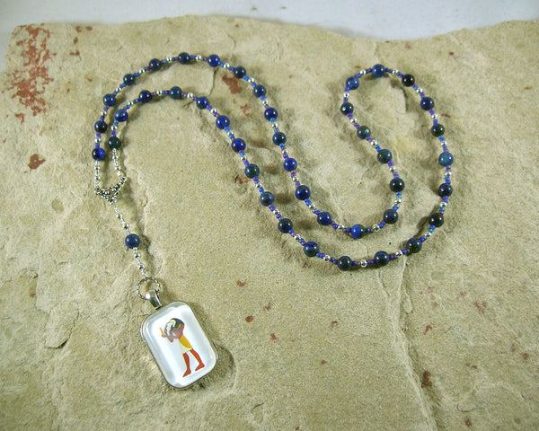 Thoth Prayer Bead Necklace in Lapis Lazuli: Egyptian God of Wisdom and Learning, Language and Communication