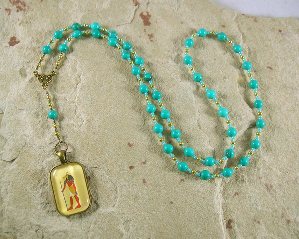 Wepwawet Prayer Bead Necklace in Stabilized Turquoise: Egyptian God of Possibilities, Opener of the Ways