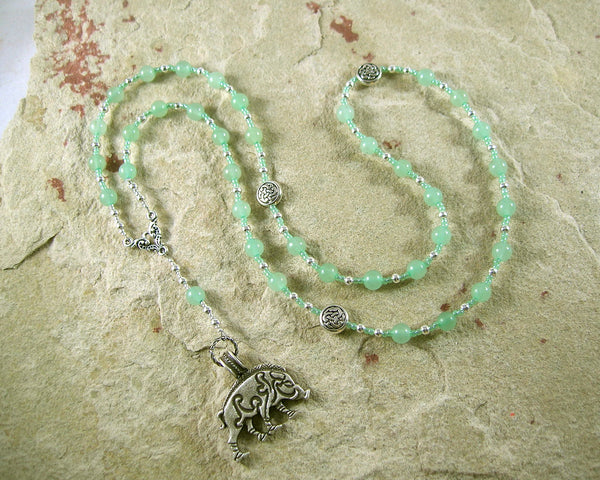 Frey Prayer Bead Necklace in Green Aventurine: Norse God of Fertility, Abundance, Prosperity - Hearthfire Handworks