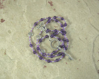 Frigga Prayer Bead Necklace in Amethyst: Norse Goddess of Wisdom, Weaving, Good Management