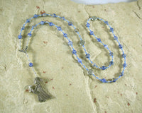 Frigga Prayer Bead Necklace in Blue Agate: Norse Goddess of Wisdom, Weaving, Good Management - Hearthfire Handworks