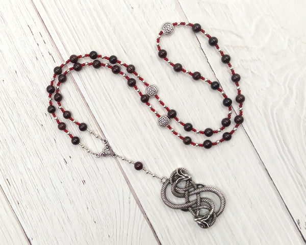 Loki Prayer Bead Necklace in Garnet: Norse God of Chaos, Change, Transformation