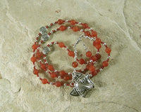 Loki Prayer Bead Necklace in Carnelian: Norse God of Chaos, Change, Transformation - Hearthfire Handworks