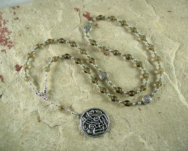 Odin Prayer Bead Necklace in Smoky Quartz: Norse God of Battle, Magic, Runes, Wisdom - Hearthfire Handworks
