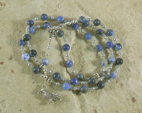 Odin Prayer Bead Necklace in Sodalite: Norse God of Battle, Magic, Runes, Wisdom - Hearthfire Handworks