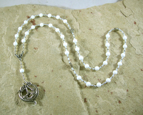Skadhi Prayer Bead Necklace in White Alabaster: Norse Goddess of Winter and the Wilderness - Hearthfire Handworks
