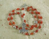 Thor Prayer Bead Necklace in Carnelian: Norse God of Thunder, Protection, Fertility - Hearthfire Handworks
