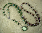 Janus Prayer Bead Necklace in Bronzite and Moss Agate: Roman God of Beginnings, Endings, Gates and Doors - Hearthfire Handworks