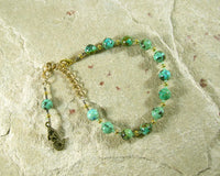 Amphitrite Prayer Bead Bracelet in African Turquoise: Greek Goddess, Queen of the Seas - Hearthfire Handworks