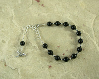Anubis Prayer Bead Bracelet in Black Onyx: Egyptian God of the Underworld and the Afterlife, Guardian of the Dead - Hearthfire Handworks