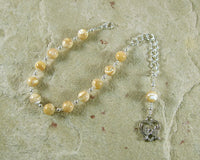 Aphrodite Prayer Bead Bracelet in Mother of Pearl: Greek Goddess of Love and Beauty - Hearthfire Handworks