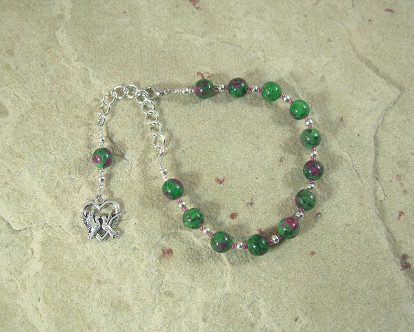 Aphrodite Prayer Bead Bracelet in Ruby-Zoisite: Greek Goddess of Love and Beauty