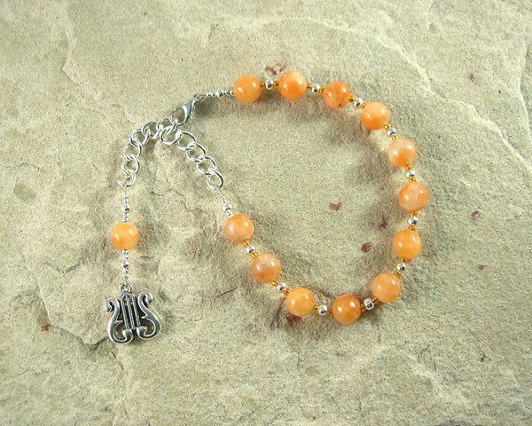 Apollo Prayer Bead Bracelet in Orange Calcite: Greek God of Music and the Arts, Health and Healing - Hearthfire Handworks