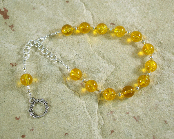 Apollo Prayer Bead Bracelet in Citrine (Large): Greek God of Music and the Arts, Health and Healing - Hearthfire Handworks